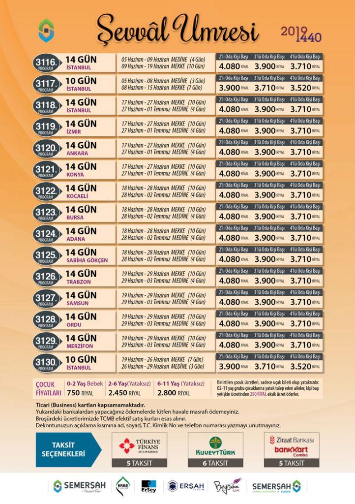 Şevval Ayı (Yaz Tatili) Tur Programları ve Umre Fiyatları
